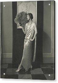 Desiree Lubowska Holding An Ostrich Fan Acrylic Print by Edward Steichen