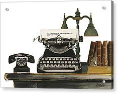 Acrylic Print featuring the painting Desk Jockey by Ferrel Cordle