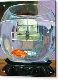 detail fish bowl of Fishing Acrylic Print