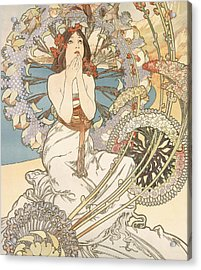 Detail From Monaco  Monte Carlo Acrylic Print by Alphonse Marie Mucha