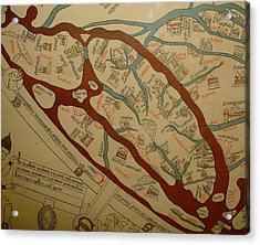 Detail From The Left Lower Portion Of Hereford Mappa Mundi 1300  Acrylic Print by L Brown