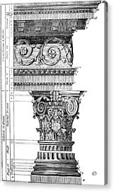 Detail Of A Corinthian Column And Frieze I Acrylic Print by Suzanne Powers