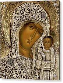 Detail Of An Icon Showing The Virgin Of Kazan By Yegor Petrov Acrylic Print