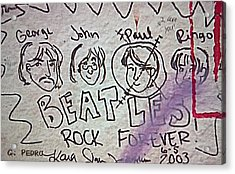 Detail Of Graffiti On Abbey Road Sign Acrylic Print by George Pedro