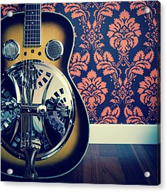 Detail Of Resonator Guitar And Damask Acrylic Print