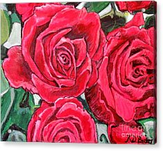 Detail Of The Delight Of Grandma's Roses Painting Acrylic Print by Kimberlee Baxter