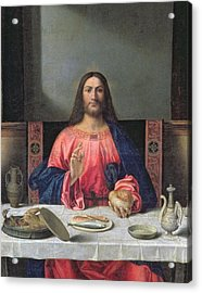 Detail Of The Supper At Emmaus Acrylic Print by Giovanni Bellini