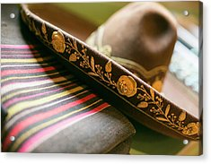 Detail On The Brim Of A Hat, Santa Fe Acrylic Print by Julien Mcroberts