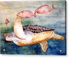 Acrylic Print featuring the painting Determined - Loggerhead Sea Turtle by Roxanne Tobaison