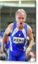 Determined Senior Athlete Acrylic Print by Alex Rotas