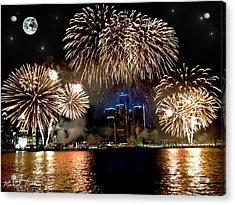 Detroit Fireworks Acrylic Print by Michael Rucker