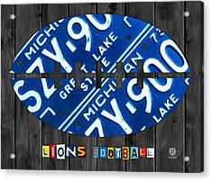 Detroit Lions Football Vintage License Plate Art Acrylic Print by Design Turnpike