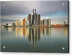 Detroit Michigan Skyline Reflections Photograph By Linda