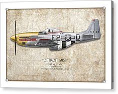 Detroit Miss P-51d Mustang - Map Background Acrylic Print
