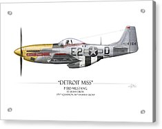Detroit Miss P-51d Mustang - White Background Acrylic Print by Craig Tinder
