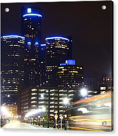 Detroit Night Scape Acrylic Print by Rexford L Powell
