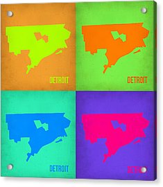 Detroit Pop Art Map 1 Acrylic Print by Naxart Studio