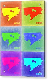 Detroit Pop Art Map 3 Acrylic Print by Naxart Studio