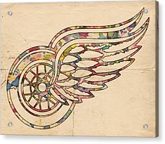 Detroit Red Wings Poster Art Acrylic Print by Florian Rodarte