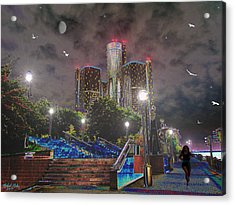 Detroit Riverwalk Acrylic Print by Michael Rucker