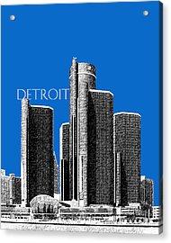 Detroit Skyline 1 - Blue Acrylic Print