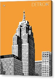 Detroit Skyline 2 - Orange Acrylic Print