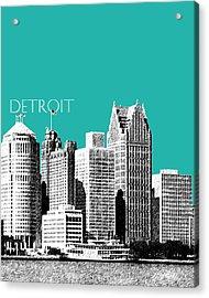 Detroit Skyline 3 - Teal Acrylic Print