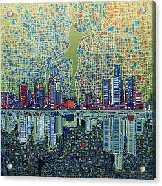 Detroit Skyline Abstract 3 Acrylic Print
