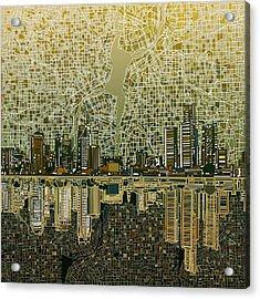 Detroit Skyline Abstract 4 Acrylic Print