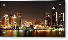 Detroit Skyline At Night-color Acrylic Print