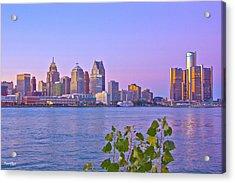 Detroit Skyline At Sunset Acrylic Print