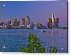 Detroit Skyline At Twilite With Boat Acrylic Print