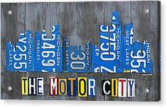 Detroit The Motor City Skyline License Plate Art On Gray Wood Boards  Acrylic Print