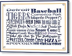 Detroit Tigers Baseball Game Day Food 3 Acrylic Print by Andee Design
