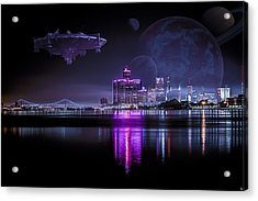 Acrylic Print featuring the photograph Detroit Worlds by Nicholas  Grunas