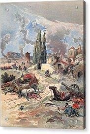 Devastation Of Provence, Illustration Acrylic Print by Albert Robida