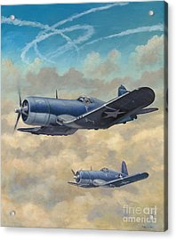Acrylic Print featuring the painting Devil Dog Fight by Stephen Roberson