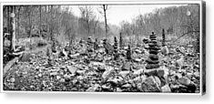 Devil's Den Black And White Rock Towers Acrylic Print by Tanya Harrison