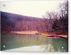 Devil's Den Lake And Canoes Acrylic Print by Tanya Harrison