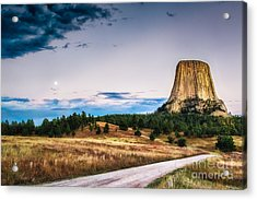 Devils Tower At Sunset And Moonrise Acrylic Print
