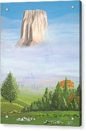 Acrylic Print featuring the painting Devil's Tower  by Phyllis Kaltenbach