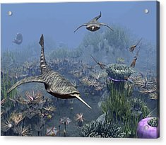 Devonian Sea, Artwork Acrylic Print by Science Photo Library