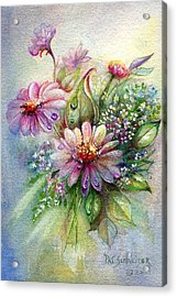 Acrylic Print featuring the painting Dewdrop Daisies by Patricia Schneider Mitchell
