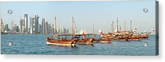 Dhows On Parade In Doha Acrylic Print by Paul Cowan