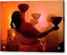Dhunuchi Folk Dance Performed At Durga Acrylic Print by Jaina Mishra