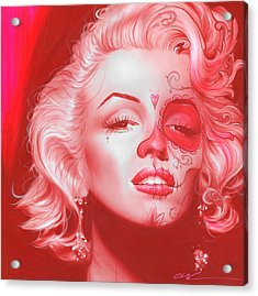 Marilyn Monroe - ' Dia De Los Monroe ' Acrylic Print by Christian Chapman Art