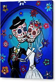 Dia De Los Muertos Kiss The Bride Acrylic Print by Pristine Cartera Turkus