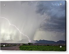 Diagonal Lightning Strike Acrylic Print by Roger Hill