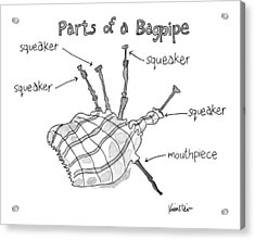 Diagram Entitled Parts Of A Bagpipe Acrylic Print