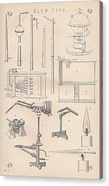 Diagrams And Parts Of A Blow Pipe Acrylic Print by Anon
